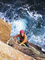 Sea cliff climbing on Castell Helen Gogarth