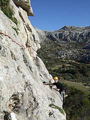 Multi pitch climbing in Spain