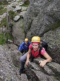 Scrambling on the north ridge of Tryfan