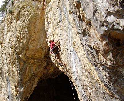 Climbing at Yugoslavia (Villanueva de Cauche) on the upper crag