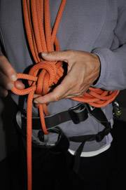 Overhand knot on hard locked coils