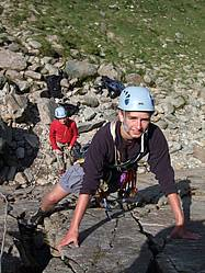 Lead climbing course in North Wales