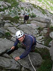 Learning to lead climb on Milestone buttress in North Wales