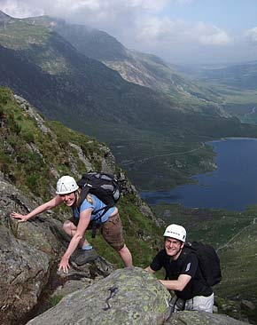 Scrambling course in the Ogwen Valley