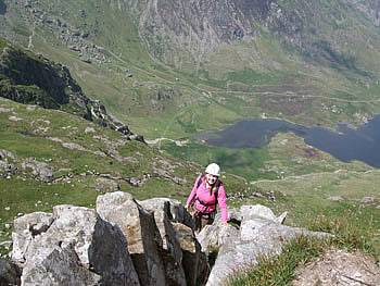 The top of Cneifion Arete above Llyn Idwal in Snowdonia