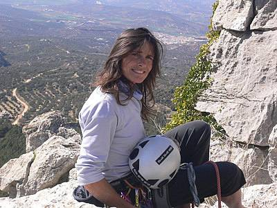 Silvia Fitzpatrick on top of Archidona crag in Spain